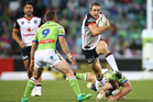 Ryan Hoffman of the Warriors evades a tackle during the NRL Rugby League match between Canberra Raiders and Vodafone Warriors at GIO Stadium, Canberra. Photo / Photosport