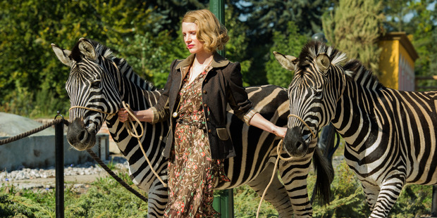 Jessica Chastain gets up close and personal with the zoo animals. Photo / Supplied