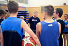 TOP CLASS: Australian coach Damian Cotter passes on tips to BOP rep basketballers. PHOTO: ANDREW WARNER