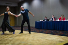 Darlene Thomas and Stephen Harvey dance in front of the judges. Photo/Stephen Parker