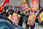 Restaurant Brands employees from around Rotorua went on strike on Saturday. Photo/Stephen Parker