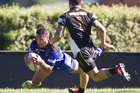 Ngongotaha Chiefs' player Tofiga Falanai scores a try against Taneatua Warriors at Puketawhero Park. Photo/Stephen Parker