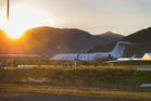 Gulfstream N650RH sits on the tarmac at Queenstown Airport, early this morning. Photo / Brett Phibbs