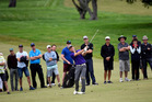 Mark Brown fires his approach to the final green at Tauranga Golf Club yesterday. Photo/George Novak