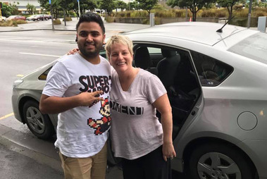 Visitor from Minneapolis Lisa Kottke and her Uber driver Harpal Kang on their arrival in Wellington. Her public thanks has turned sour, with the NZTA now investigating the trip. Photo / Supplied