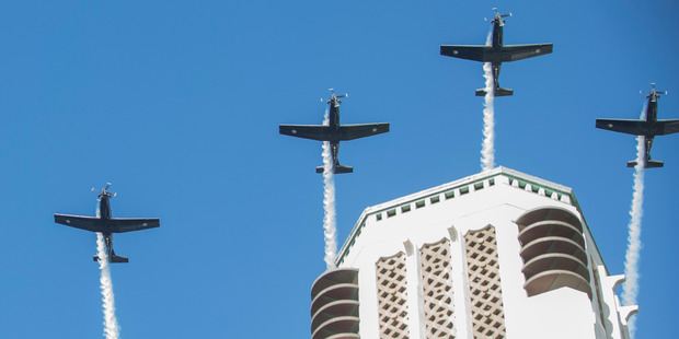 Loading RNZAF T-6C Texan II aircraft during their flyover at the Anzac Day National Commemoration at the National War Memorial in Wellington. Photo/Mark Mitchell