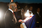 Ngahi Bidois giving his speech at this year's dawn service for Anzac Day. Photo/Ben Fraser