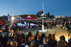 The sun rises over the Anzac ceremony in Rotorua.