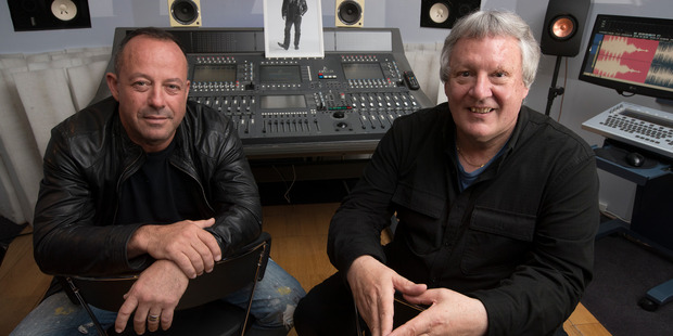 Kelly Addis (left) and record producer Alan Jansson in the studio where they finished Graham Brazier's last album.   Photo / Brett Phibbs