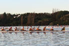 The AWRC Men's Coxed Eight on their way to bronze at the World Masters Games on Lake Karapiro on Wednesday.