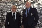 New NZRU vice president Bill Osborne with WRFU chairman Jeff Phillips at NZRU headquarters yesterday.
