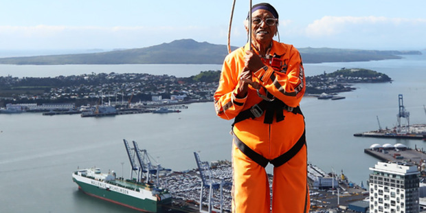 Loading 101-year-old athlete Man Kaur walks around the SkyTower. Photo / Supplied