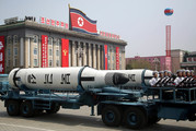 A submarine missile is paraded across Kim Il Sung Square during a military parade in Pyongyang, North Korea, earlier this month. Photo / AP