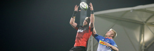Crusaders Kieran Read leaps to take lineup ball during their super rugby match against the Stormers in Christchurch. Photo / AP