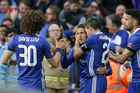Chelsea's Eden Hazard,2nd left, celebrates after scoring his side's third goal during the English FA Cup semifinal soccer match between Chelsea and Tottenham. Photo / AP.