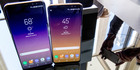 The Samsung Galaxy S8, right, and S8 Plus appear on display after a news conference, in New York. Photo / AP