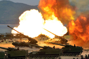 This photo, distributed by the North Korean government, shows what was said to be a 'Combined Fire Demonstration' held to celebrate the 85th anniversary of the North Korean army. Photo / Korean Central News Agency/Korea News Service via AP