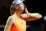 Russia's Maria Sharapova blows a kiss after winning 7-5, 6-3 against Italy's Roberta Vinci at the Porsche Tennis Grand Prix in Stuttgart, Germany, Wednesday, April 26, 2017. Photo / AP.