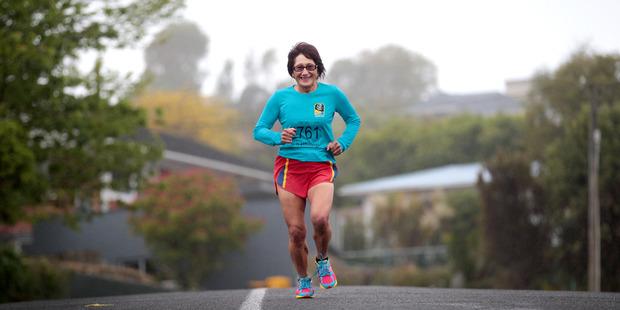Charlotte Nasey when she ran her 100th Marathon in 2013. Photo / Doug Sherring