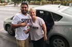 Lisa Kottke and her Uber driver Harpel Kang on their arrival in Wellington. Photo / Supplied