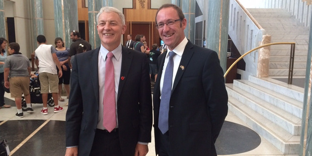Labour leader Andrew Little (right) travelled to Australia with his former colleague Phil Goff in 2015 to lobby for Kiwi expats' rights. Photo / Nicholas Jones