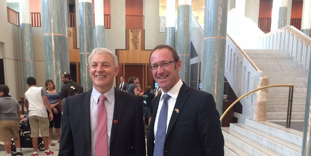 Labour leader Andrew Little (right) visited Australia with then MP Phil Goff in 2015 to plead for the case of New Zealanders in Australia. Photo / Nick Jones