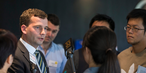 Act Party leader David Seymour speaks to members of the media at the Act Party conference in February. New Zealand Herald Photograph by Jason Oxenham.