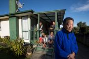 Sarah Ewe, 72, pictured at her home with her daughter Tira Ewe, grandchildren Jackie and Martha Ewe and great-grandchildren Cairo,7, and Ngakoia, 7. Photo/Brett Phibbs