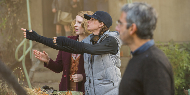 Kiwi director Niki Caro with Jessica Chastain. Photo / Anne Marie Fox
