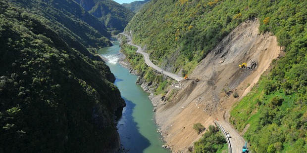 A previous slip which closed the road through the Manawatu Gorge in 2013. File photo / DANNEVIRKE NEWS