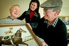 John Thomas Anderson shares a lighter moment about riding champion horse Picaroon with his niece, Jenni Hastings, and her husband, Grant, at the Mary Doyle Retirement Village.  PHOTO/FILE