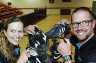 Sport Hawke's Bay's school development officer Sally McKenzie and commercial manager Ryan Hambleton with some of the first boots to arrive for the Bring Yer Boots campaign. Photo/Paul Taylor