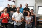 John (centre) and Rachel Stewart with their champion Printing.com Kaitaia team, from the left Louise Staub, Peter Smith, Gavin Nathan, Rob Bamber, Leon Gordon and Alex Jones.