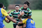 Powerful Figure: Hastings Rugby and Sports No 8 Danya Tulou charges into the Clive defence today. Photo/Warren Buckland