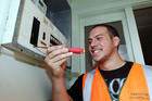 Switched On: Taradale flanker Jacob Baker on the job as an apprentice electrician for Prestige Limited. Photo/Paul Taylor