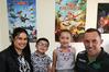 Lisa Papuni (left) Jake Papuni, 4, Mila Papuni, 7, Maaka Papuni, Taradale, Napier, winners of a Hawke's Bay Today, Jetstar competition. Photo Duncan Brown