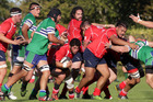 Tech hooker Conan Houkamau protects the ball during another of his team's rolling mauls against NOBM. Photo/Duncan Brown