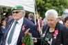 L-R: Gordon Paku, chairman, Janice Mangere, secretary, Heretaunga branch of the 28th Maori Battalion, laying a wreath - Anzac Day service, Ruahapia Marae, Hastings, the final parade of the Heretaunga