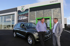 All Blacks coach Steve Hansen (left) with Terry Elmsly, owner of EuroCity, at the firm's new site in Prebensen Drive, Napier. Photo Duncan Brown