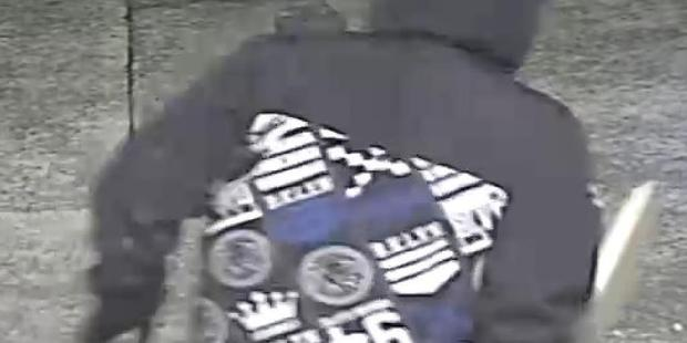 Back view of distinctive hoodie worn by one of the Liquorland store assault case. Photo/Supplied.