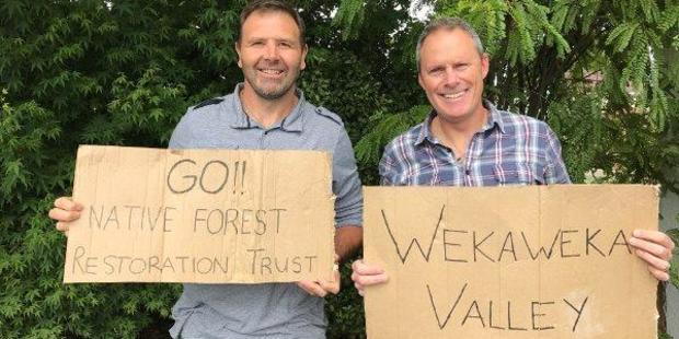Adam Gard'ner and Duane Major, who drove last year's successful Awaroa Beach Givealittle campaign, back the Wekaweka Valley forest purchase in Northland. Photo / Supplied
