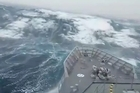 The RNZN vessel 'HMNZS Otago' faced 20m swells when it sailed through a storm in Southern Ocean in 2015. YouTube / Alex Croucher