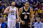 San Antonio Spurs forward Kawhi Leonard and Memphis Grizzlies center Marc Gasol. Photo / AP