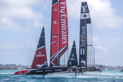 Team Japan, skippered by Dean Barker, dealt Emirates Team New Zealand their only loss of the day. Photo: Hamish Hooper/ETNZ.