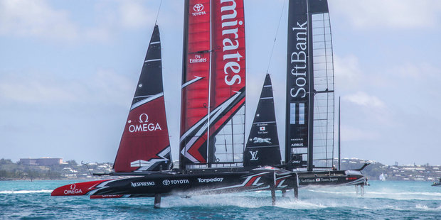 Loading Team Japan, skippered by Dean Barker, dealt Emirates Team New Zealand their only loss of the day. Photo: Hamish Hooper/ETNZ.