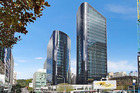 The Twin Towers office block which is for sale at 205 Queen St, Auckland CBD. Photo / Supplied