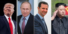 From left: Donald Trump, Vladimir Putin, Bashar al-Assad, Kim Jong Un. Photos / AP