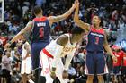 Washington Wizards' Markieff Morris and Bradley Beal celebrate their victory over the Atlanta Hawks. Photo / AP