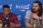 Steven Adams sits with Russell Westbrook during a media conference. Photo / Twitter.