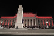 Crowds gather for the dawn service, Auckland War Memorial Museum. Photo / Michael Craig